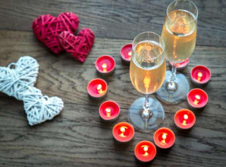 sektglas: Kerze Herzen