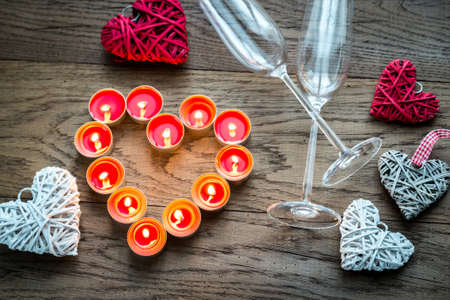 flutes: Flutes with candles Stock Photo