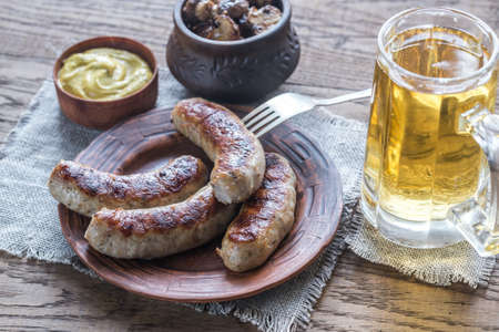 beer glass: Sausages with beer