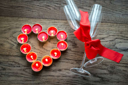 candlelit: Champagne flutes  with candles