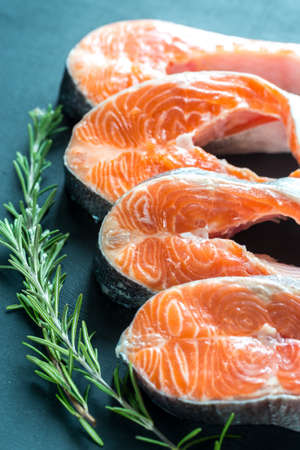 unsaturated fat: Fresh trout steaks