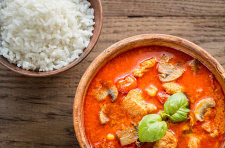 Red curry chicken with rice