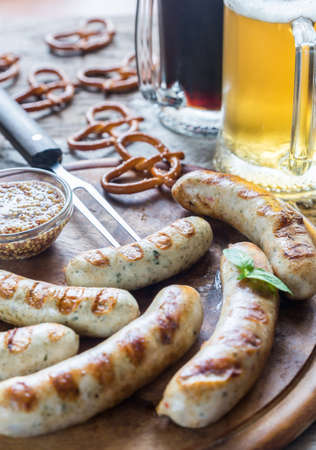 weisswurst: Bavarian sausages Stock Photo