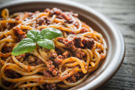 bolognese sauce: Spaghetti with bolognese sauce Stock Photo