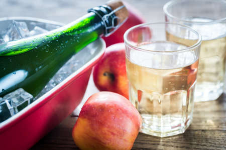 cider: Apple Cider in glass Stock Photo