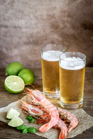Beer with shrimps Stock Photo