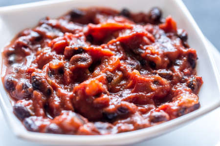 Bowl of chili with black beans