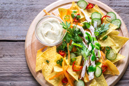 Tortilla chips with vegetables