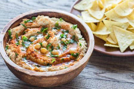 tortilla: Hummus with tortilla chips Stock Photo