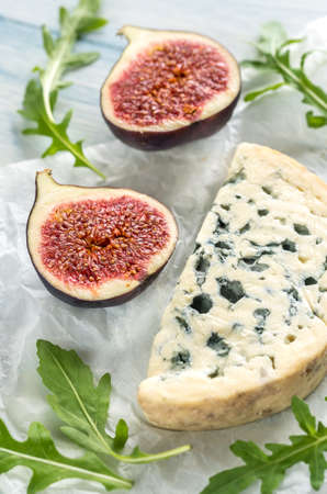 Blue cheese with figs Stock Photo