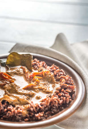 Thai panang curry with red rice Stock Photo