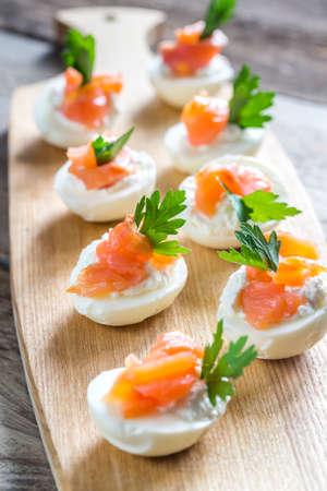 californian: Salmon cream cheese deviled eggs