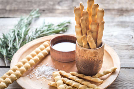 Rosemary breadsticks with ingredients Stock Photo