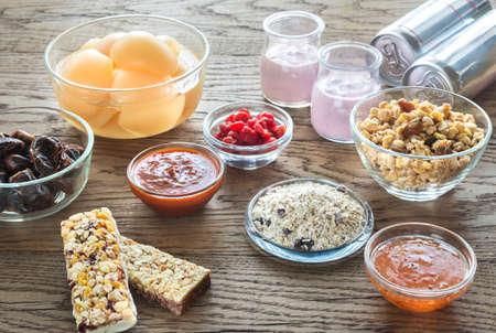 Voedingsmiddelen met verborgen suiker Stockfoto