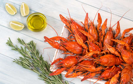Tray with boiled crayfish Stock Photo