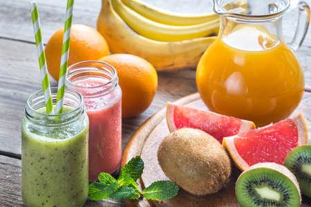 glass jars: Glass jars of fruit  smoothies