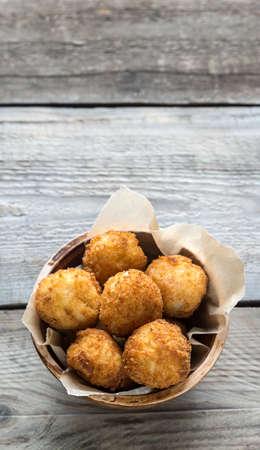 Bowl of arancini - rice balls with mozzarella