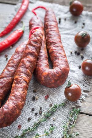 Chorizo with cherry tomatoes Stock Photo