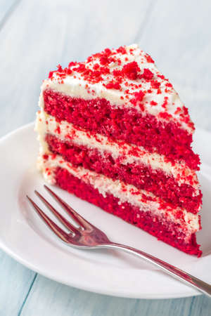 Red velvet cake on the plate Stock Photo