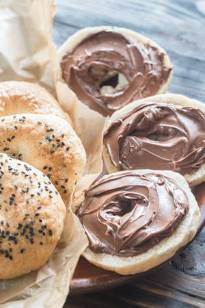 Bagels with chocolate cream Stock Photo