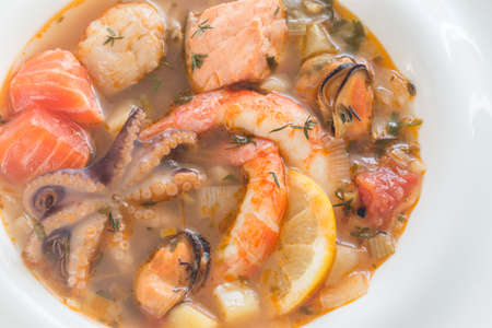 Bowl of Bouillabaisse - french soup with seafood