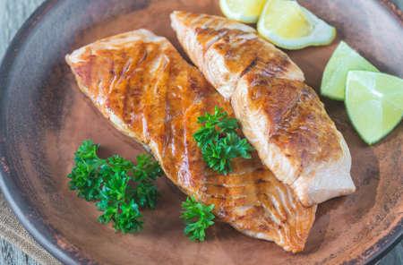 Roasted salmon steak with fresh parsley