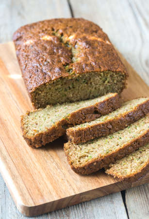 Zucchini bread on the wooden board Archivio Fotografico