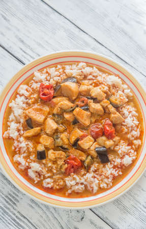 copy paste: Thai red chicken curry with white rice