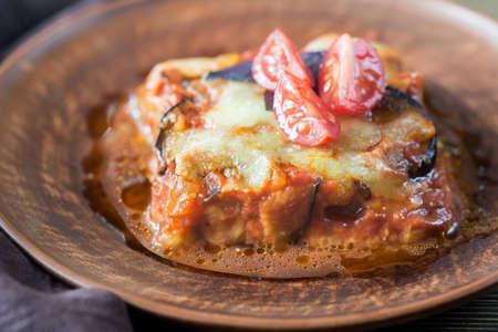 Portion of parmigiana di melanzane