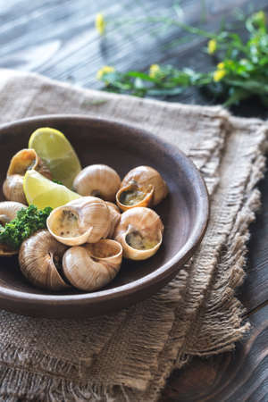 Bowl of cooked snails Stock Photo