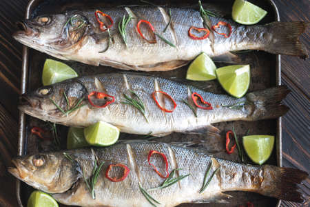 the dorada: Baked sea bass with lime and chilli pepper