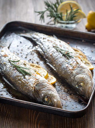 Baked sea bass with lemon and rosemary Reklamní fotografie