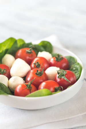 Fresh cherry tomatoes with mozzarella and spinach leaves