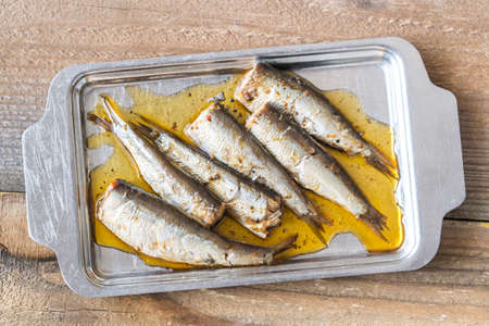 Sardines on the metal plate Banque d'images