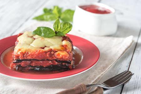 Portie parmigiana di melanzane Stockfoto