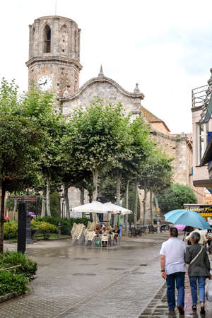 MALGRAT DE MAR, SPAIN - JULY 16, 2018: Saint Nicholas church is a neoclassical church in the town of Malgrat de Mar, Catalonia Editorial