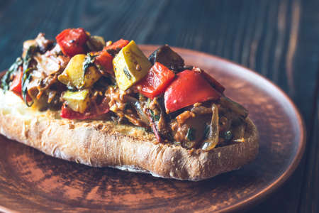 Sandwich with ratatouille on the plate Stock Photo