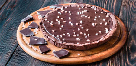 Chocolate salted tart Stock Photo