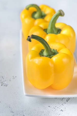 Fresh yellow bell peppers Stock Photo