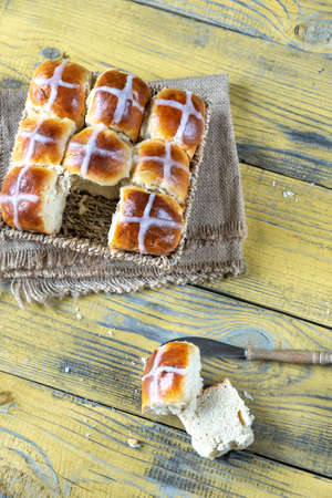 Homemade hot cross buns close-up