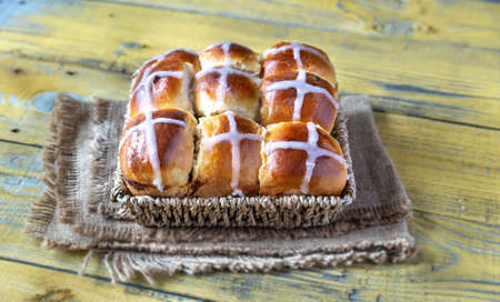 Homemade hot cross buns close-up