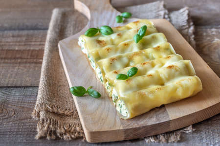 Cannelloni pasta stuffed with ricotta and spinach
