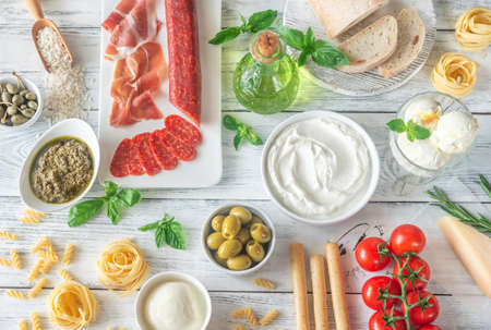 Assortment of Italian foods on the wooden table Stock fotó