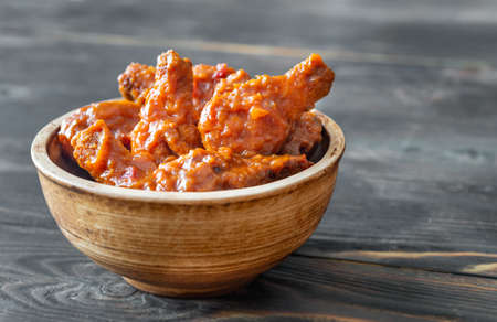 Bowl of buffalo wings: close-up 写真素材
