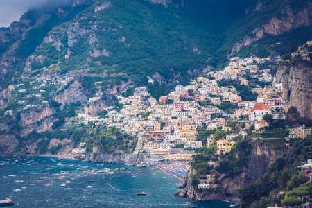 View of Positano village along Amalfi Coast in Italy Imagens