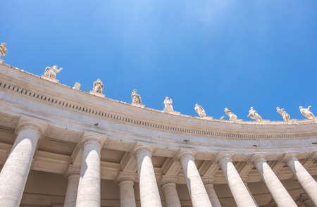 Doric colonnades, four columns deep in St. Peters Square, Vatican