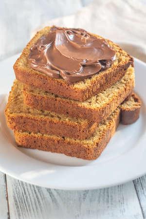 Sliced pumpkin bread with chocolate spread