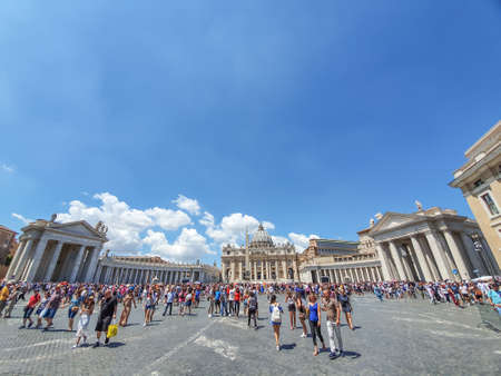 VATICAN CITY, VATICAN - JULY 14: St. Peters Basilica and St. Peters Square on July 14,2019. St. Peters Square is a plaza located in front of St. Peters Basilica. Editorial