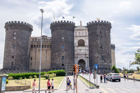 NAPLES, ITALY - JULY 16: Castel Nuovo on July 16, 2019. Castel Nuovo is a medieval castle located in Naples. First erected in 1279, it was a royal seat for kings of Naples, Aragon and Spain until 1815.