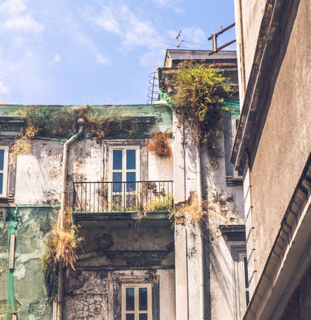 NAPLES, ITALY - JULY 16, 2019: Old buildings of central Naples on July 16, 2019.